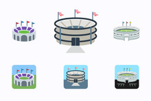 Set Of Football Stadiums Arenas Vector Illustration Symbols, Icons In Flat Style Isolated. Soccer Stadium Buildings Collection Pack.