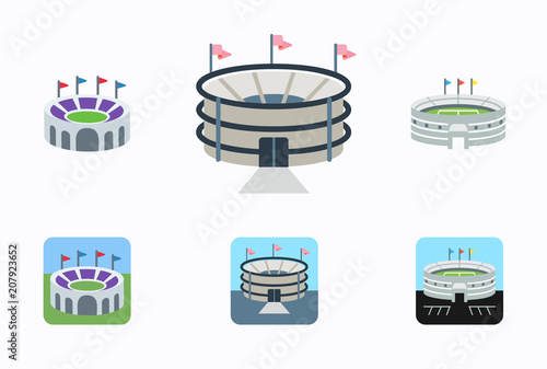 Set of football stadiums arenas vector illustration symbols, icons in flat style isolated Wallpaper Mural