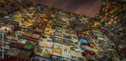 Tuinposter Aziatische Plekken Overcrowded residential building in Hong Kong