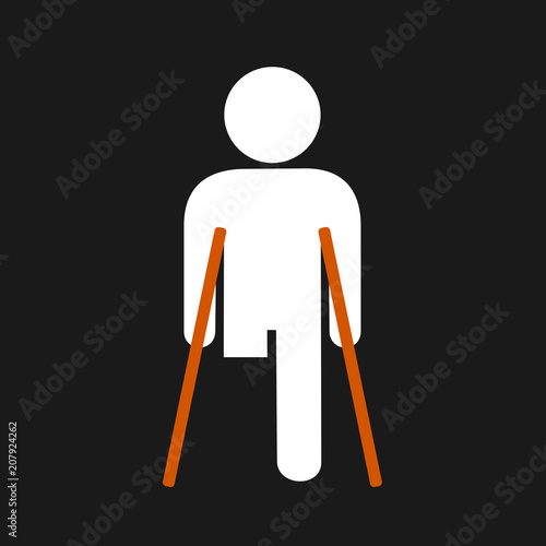 Physically disabled person without leg - lower limb is amputated and removed after injury and traumatic accident Canvas Print