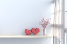 Grey-White Living Room Decor With Two Hearts ,white Wall, Window, Table, Pink Rose,vase, Drape, Curtain,The Sun Shines Through The Window. 3d Render.For Valentine Day.