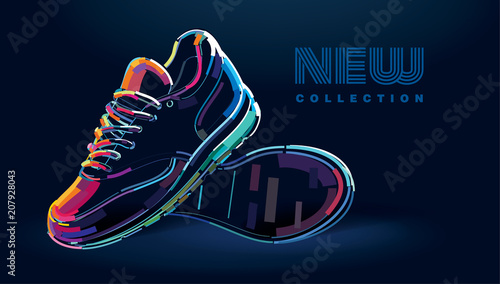 Fotografia  Pair of new sport running shoes. Banner in a digital painting