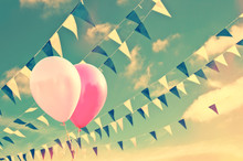 Pink Air Balloons On Sky Background With Blue And White Garlands, Vintage Summer Party Concept
