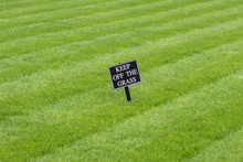 Keep Off The Grass Sign On A R...
