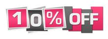 Discount Ten Percent Off Pink Grey Stripes Squares