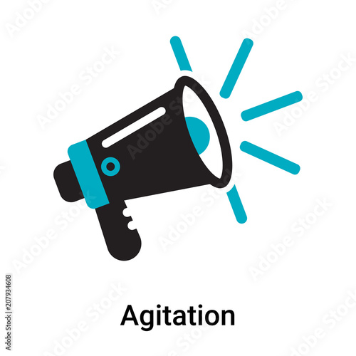 Agitation icon vector sign and symbol isolated on white background, Agitation lo Wallpaper Mural