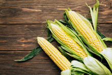 Corn Cob, Wooden Background, Top View, Agriculture