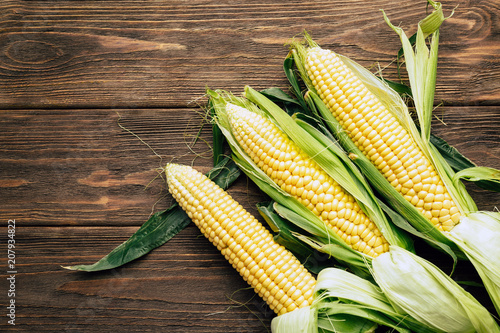 Poster Graine, aromate corn cob, wooden background, top view, agriculture