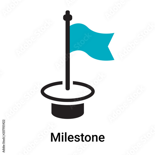 Fotografering  Milestone icon vector sign and symbol isolated on white background, Milestone lo