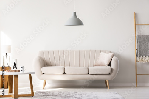 Real Photo Of A Beige Sofa Standing In A Simple Living Room Interior Under  A Lamp