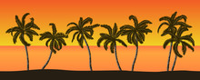 Seamless Vector Summer Beach Landscape With Palm Trees On Orange Sunset Background.