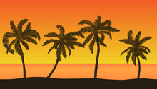 Seamless Vector Summer Beach Landscape With Detailed Palm Trees On Orange Sunset Background.