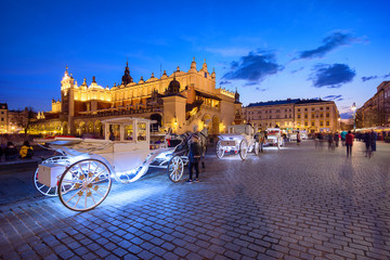 Fototapeta Kraków Old town market square of Krakow, Poland