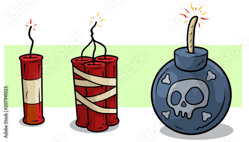 Fotografia  Cartoon red dynamite and bomb with wick vector set