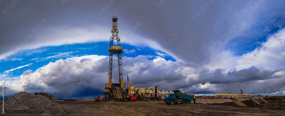 Fototapety, obrazy: construction site drilling rig on land