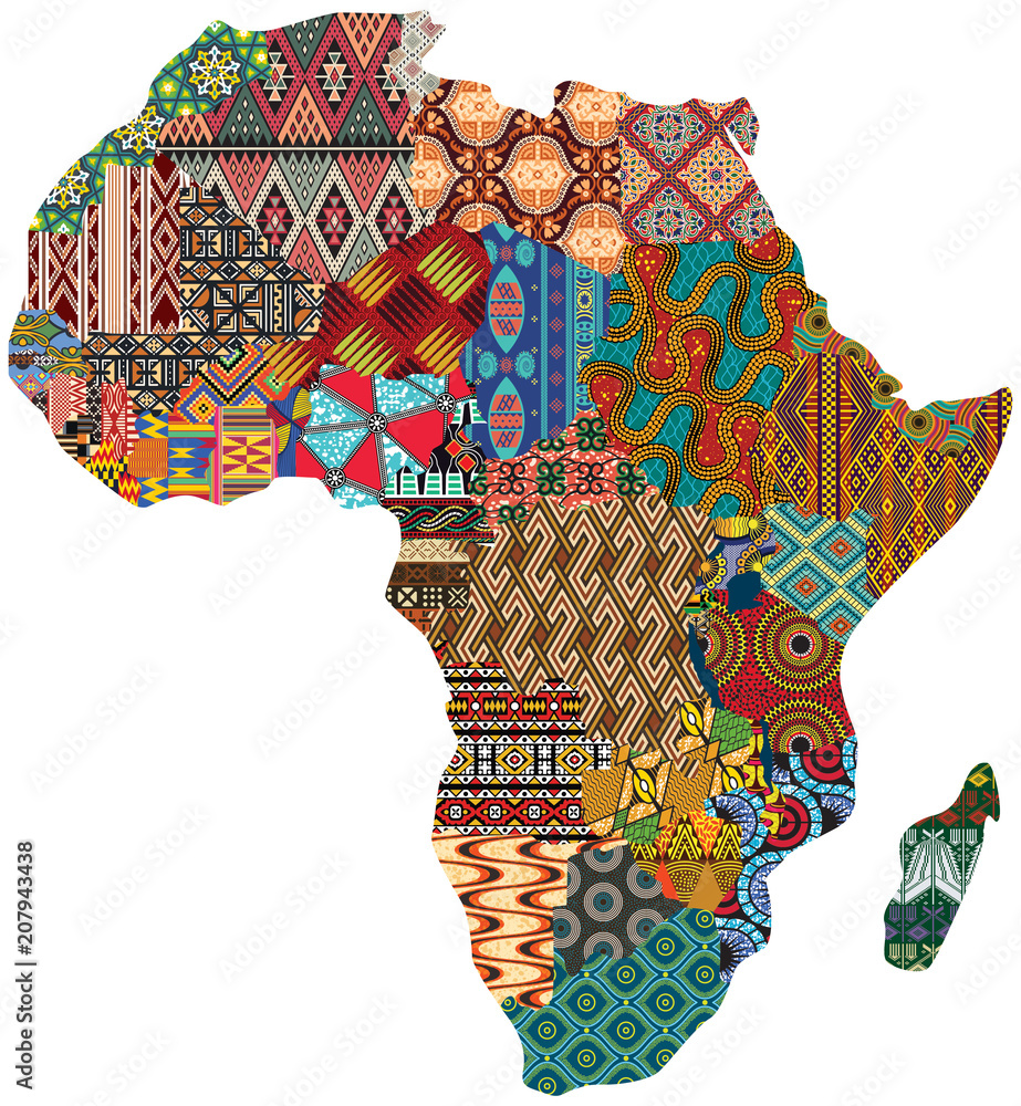 Fototapeta Abstract Africa patchwork traditional fabric pattern vector map
