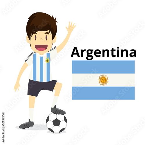 Fotografía Argentina national team cartoon,football World,country flags