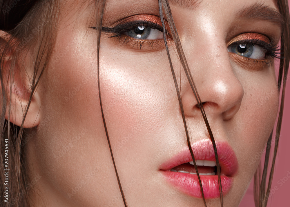 Fototapety, obrazy: Beautiful girl with creative colorful makeup. Beauty face. Photos shot in studio