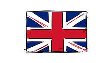 Cartoon, Vector Hand Drawing Of British-England-UK Flag Illustration