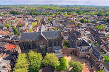 Arial View From The Top Of The Tower Of The St. Martins Cathedral At Sunny Day. Beautiful View Of Historic Center Of Utrecht With St. Martins Cathedral. Popular Travel Destination In The Netherlands