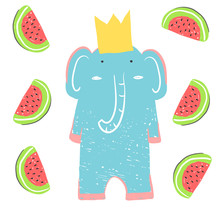 Funny Elephant In The Crown With Watermelons. Illustration About Animals For Children Design. Cartoon Style.