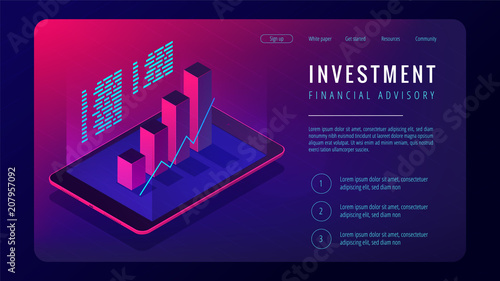 Photo Isometric investment and financial advisory landing page concept
