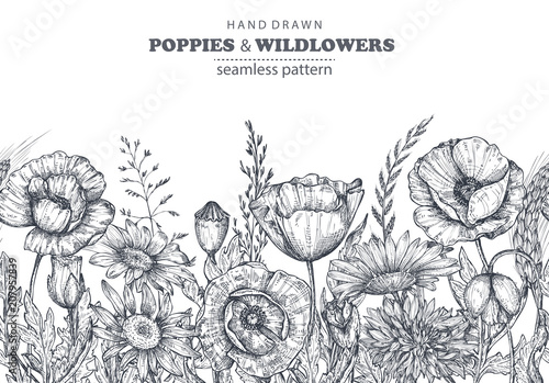 Vector seamless pattern with hand drawn poppy and other flowers and plants - 207957839