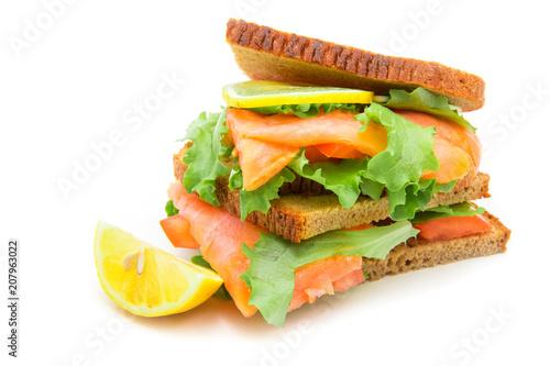 Foto op Plexiglas Buffet, Bar sandwich with smoked salmon,salad and lemon