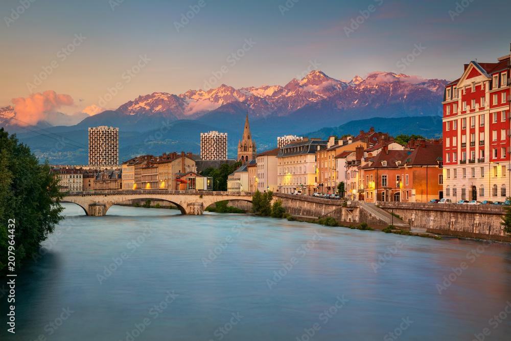 Fototapeta Grenoble. Cityscape image of Grenoble, France during sunset.