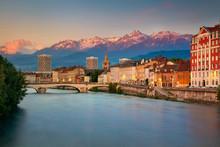 Grenoble. Cityscape Image Of Grenoble, France During Sunset.