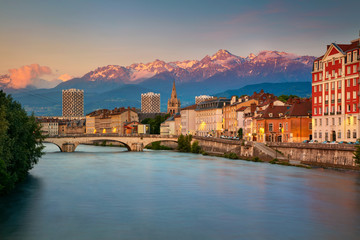 Grenoble. Cityscape image of Grenoble, France during sunset.