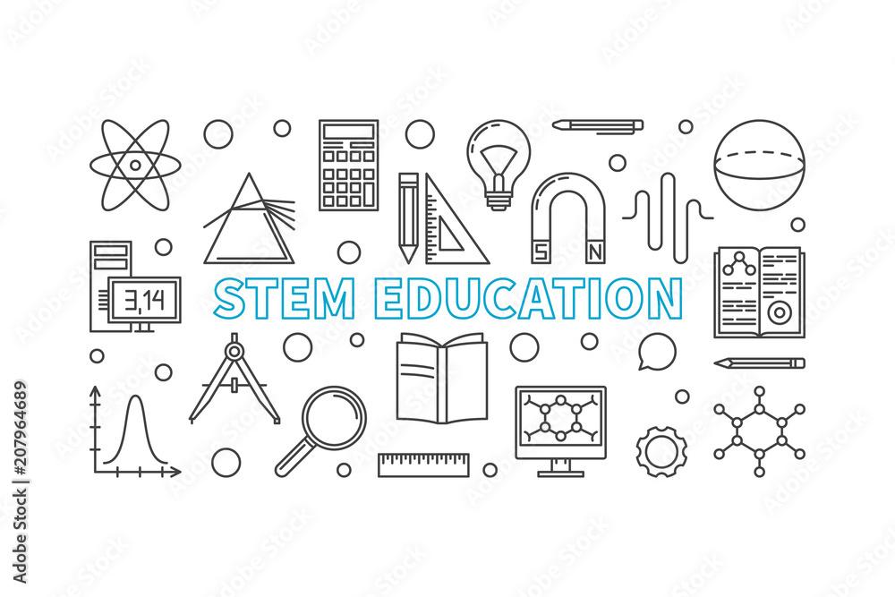 Fototapeta STEM Education vector horizontal banner in line style