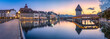 Leinwanddruck Bild - Altstadt von Luzern mit Kapellbrücke und Wasserturm, Schweiz