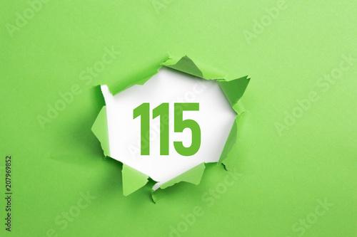 Poster  gruene Nummer 115 auf gruenem Papier