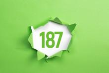 Gruene Nummer 187 Auf Gruenem ...