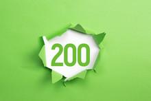 Gruene Nummer 200 Auf Gruenem Papier