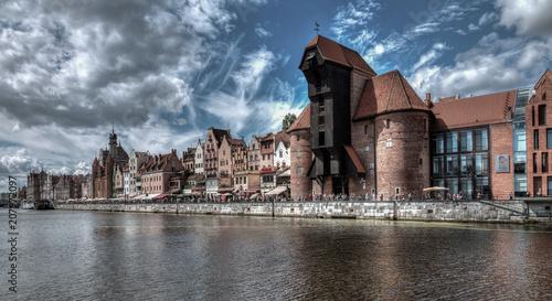 Plakat Polskie miasta   city-view-of-gdansk-poland-motlawa-river