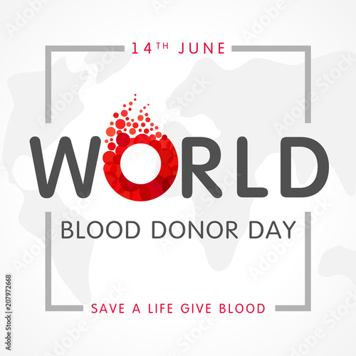 Fotografía  World blood donor day, map and lettering