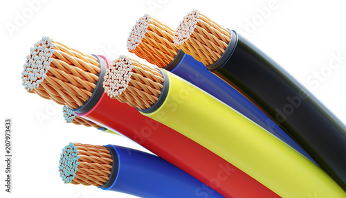 Colorful copper cables and wires isolated on white background. 3D rendered illustration.