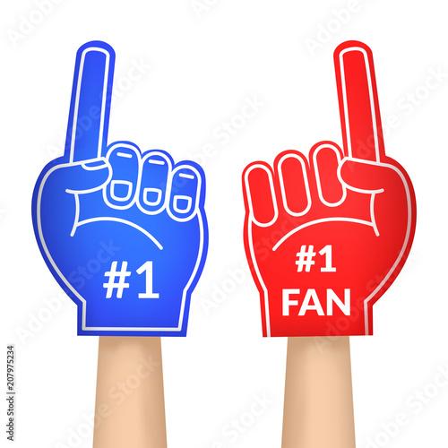 Cartoon Fan Foam Color Gloves Set. Vector Poster
