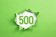 Leinwanddruck Bild - gruene Nummer 500 auf gruenem Papier