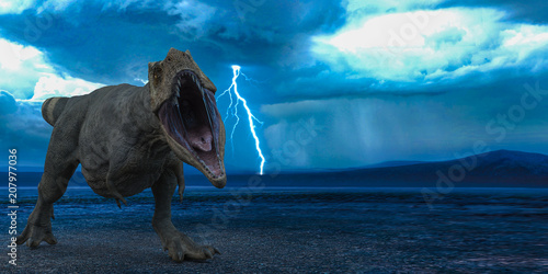 Fotomural t-rex in the wild world storm
