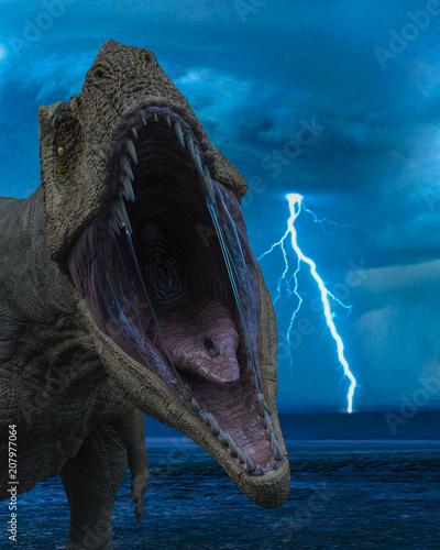 Fotografie, Tablou  t-rex in the wild world storm