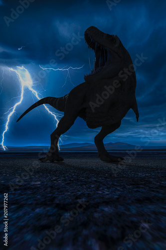 Fototapeta  t-rex in the wild world storm