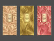 Set Template for package or flyer from Luxury background made by foil leaves in beige green peachy for cosmetic or perfume or for alcohol label or for advertising jewelry or for brand book