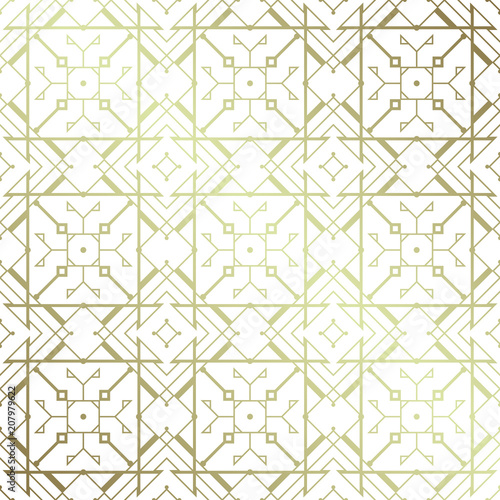 Poster Kunstmatig Vector modern geometric seamless pattern based on motif ancient northern embroidery; White and metallic.
