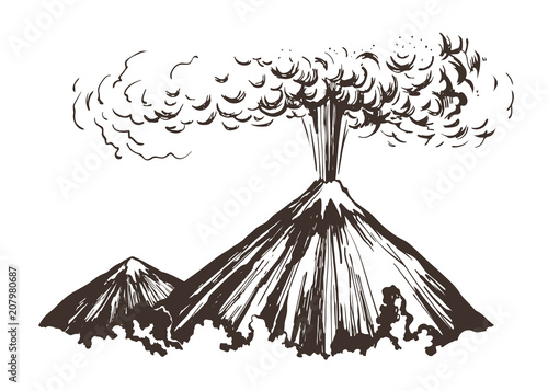 Tablou Canvas Eruption. Mountains sketch