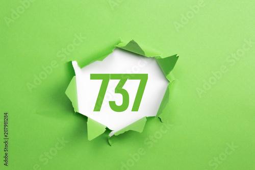 Fotografia  gruene Nummer 737 auf gruenem Papier