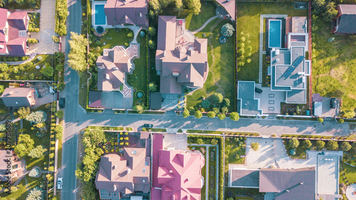 Foto op Plexiglas Luchtfoto Stock aerial image of a residential neighborhood