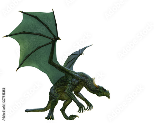 Canvas Prints Dragons green dragon in a white background